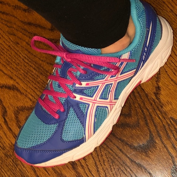 pink and blue asics